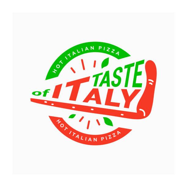 italienische pizza-logo. geschmack von italien. symbol für pizzeria. kreisförmige logo mit stück pizza - pizzeria stock-grafiken, -clipart, -cartoons und -symbole