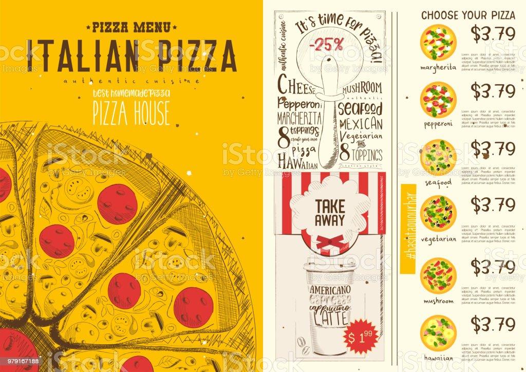italian pizza menu template stock vector art more images of