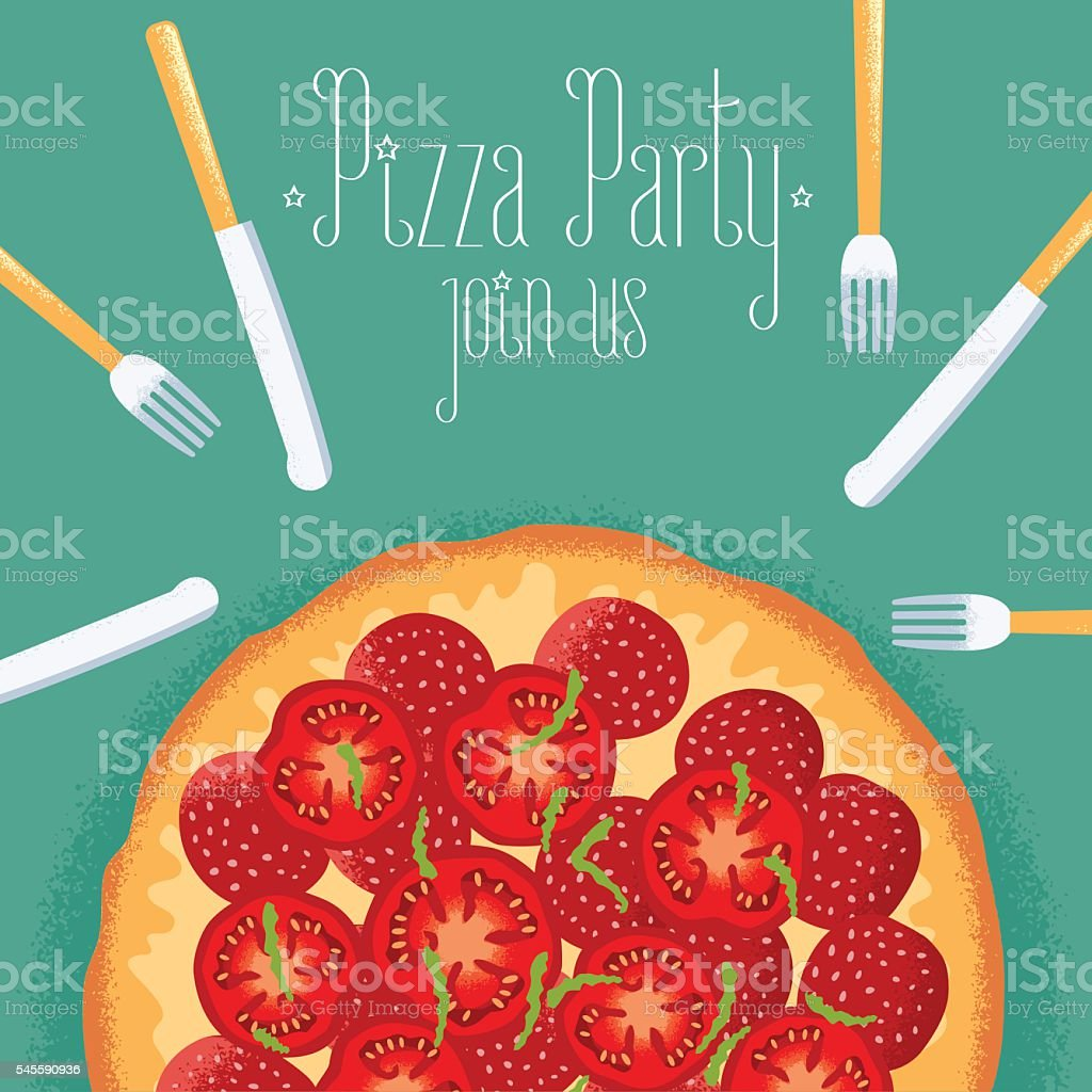 italian pizza party invitation celebration image stock vector art