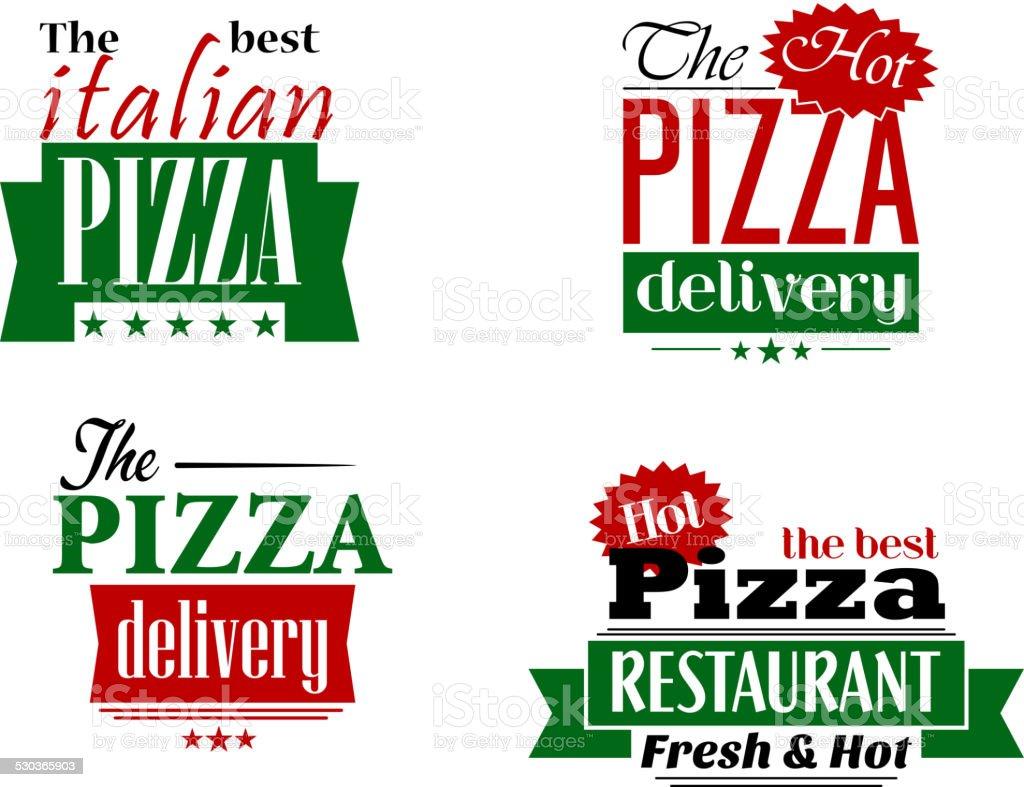 イタリアンレストランピザ labesl およびバナーセット のイラスト素材