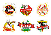 Italian pizza restaurant authentic recipes logos and emblems, pizzeria and pizza house, headlines and chef, collection isolated on vector illustration