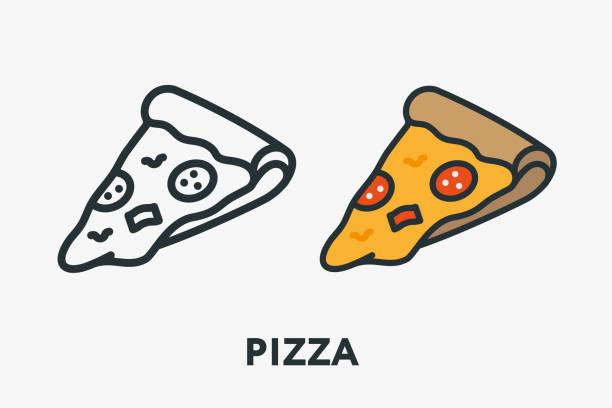 ilustraciones, imágenes clip art, dibujos animados e iconos de stock de pizza italiana salami pepperoni slice con queso fundido línea plana mínima contorno colorido y movimiento icono pictogram - pizza