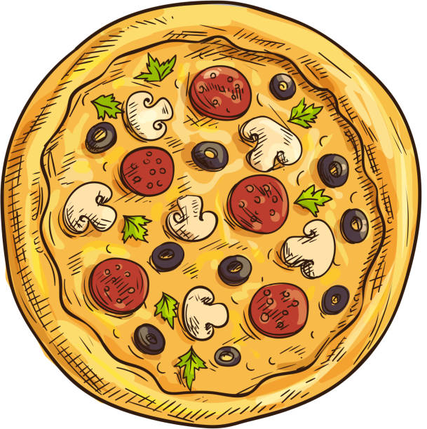 Italian pizza sketch for pizzeria and cafe design Italian pizza sketch with pepperoni sausage, black olive fruit, mushroom and basil. Pizzeria, italian cuisine restaurant, takeaway pizza box design pastry dough stock illustrations