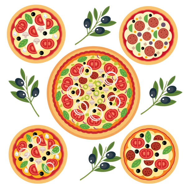 Italian pizza vector art illustration