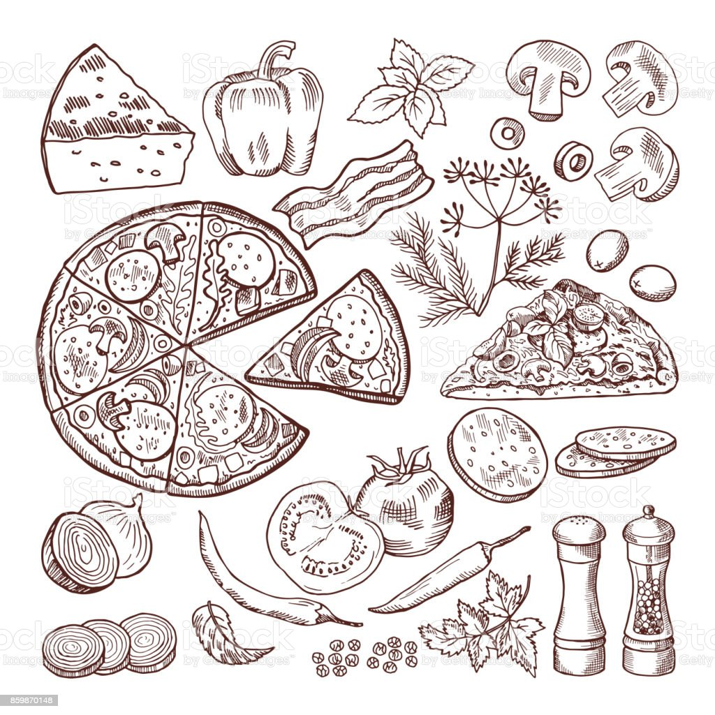 Italian Pizza With Different Ingredients Vector Doodle Set
