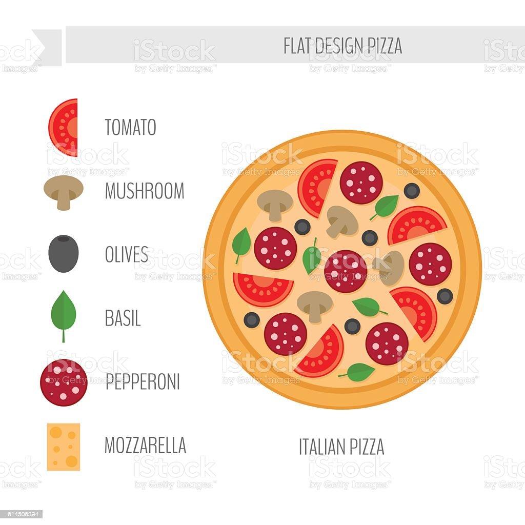 Italian pizza with ingredients. vector art illustration
