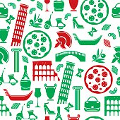 A seamless pattern of Italian related icons. See below for an icon set version of this file.