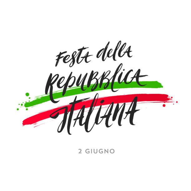 stockillustraties, clipart, cartoons en iconen met italiaanse republiek dag hand getrokken vector illustratie. - italie