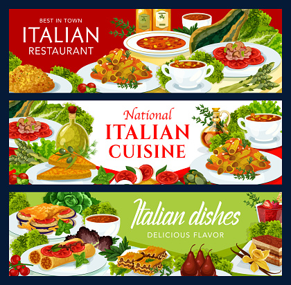 Italian restaurant cuisine vector banners set