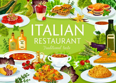 Italian restaurant food vector poster, Italy meals