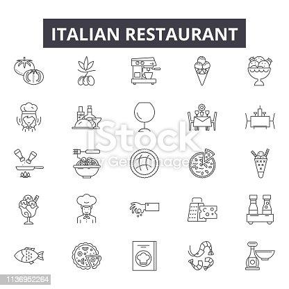 Italian restaurant line icons for web and mobile. Editable stroke signs. Italian restaurant  outline concept illustrations