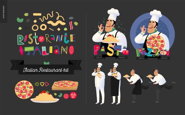 Italian restaurant set vector art illustration