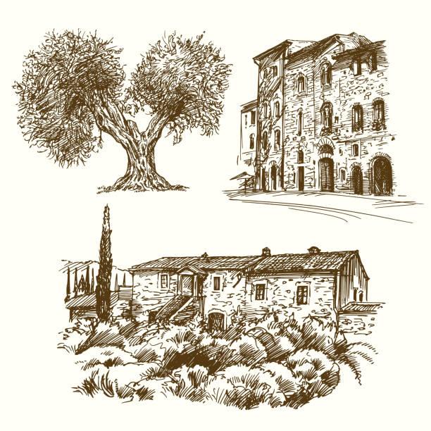 italienische landschaften. - toskana stock-grafiken, -clipart, -cartoons und -symbole