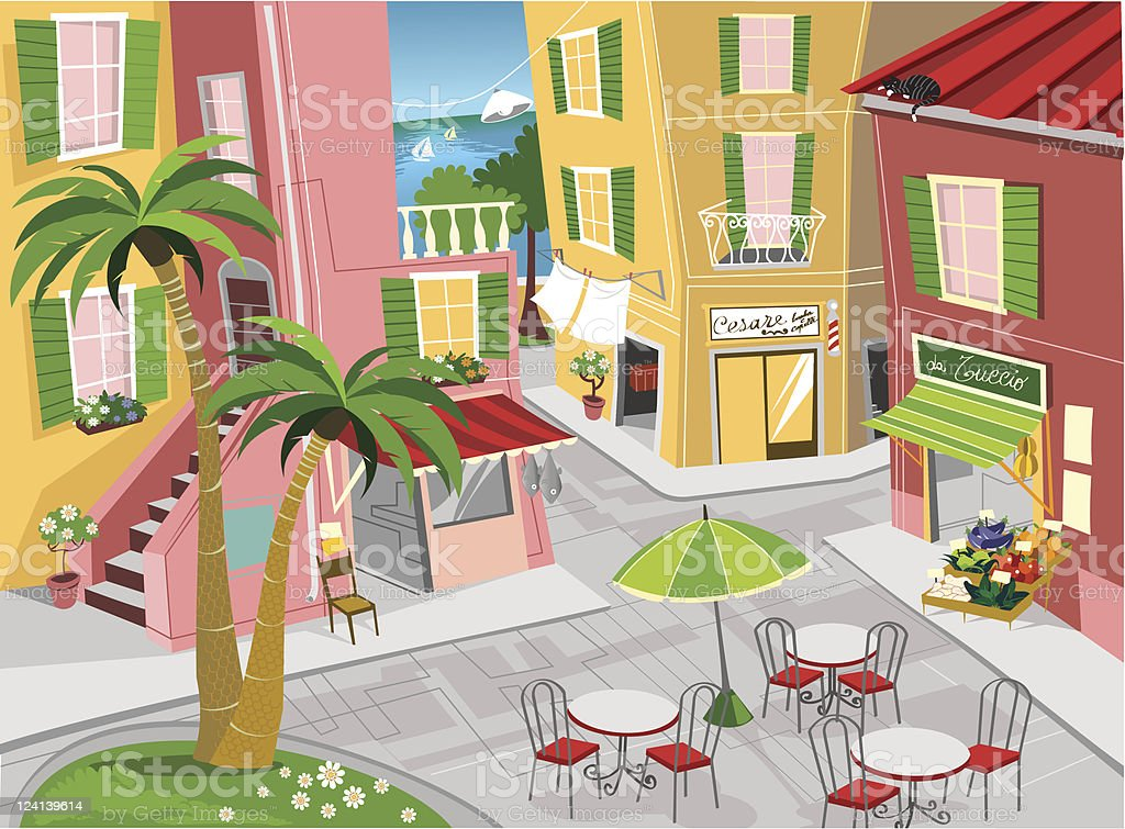 Italian sea town royalty-free stock vector art