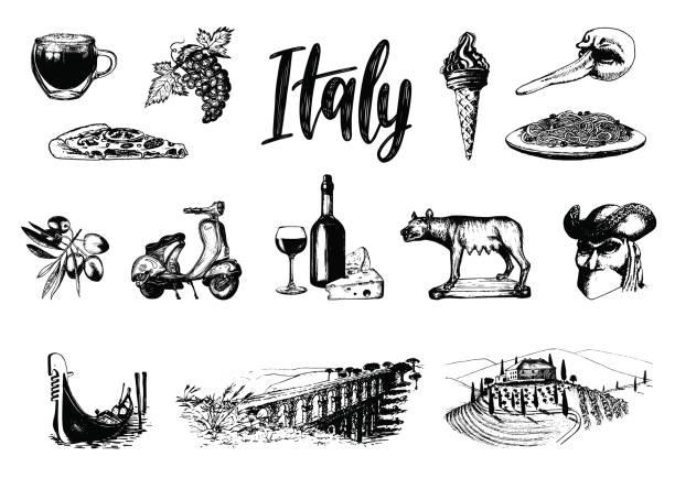 ilustrações de stock, clip art, desenhos animados e ícones de italian set of sketches. hand drawn illustrations of italy travel symbols. vector touristic signs of vacations. - mediterranean food