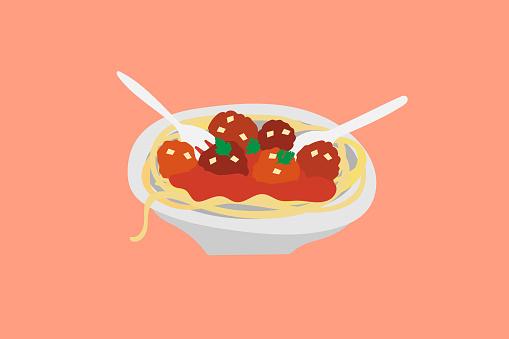 Italian spaghetti bolognese meatball pasta illustration