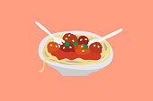 istock Italian spaghetti bolognese meatball pasta illustration 1171891088
