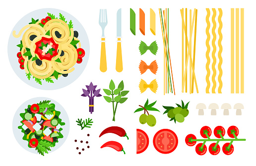 Italian spaghetti, salad and ingredients vector illustration in a flat design.