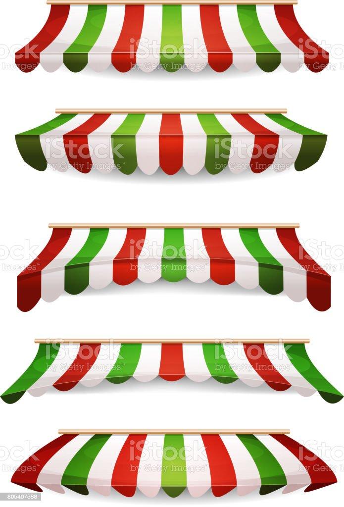 Italian Striped Awnings For Market Store vector art illustration