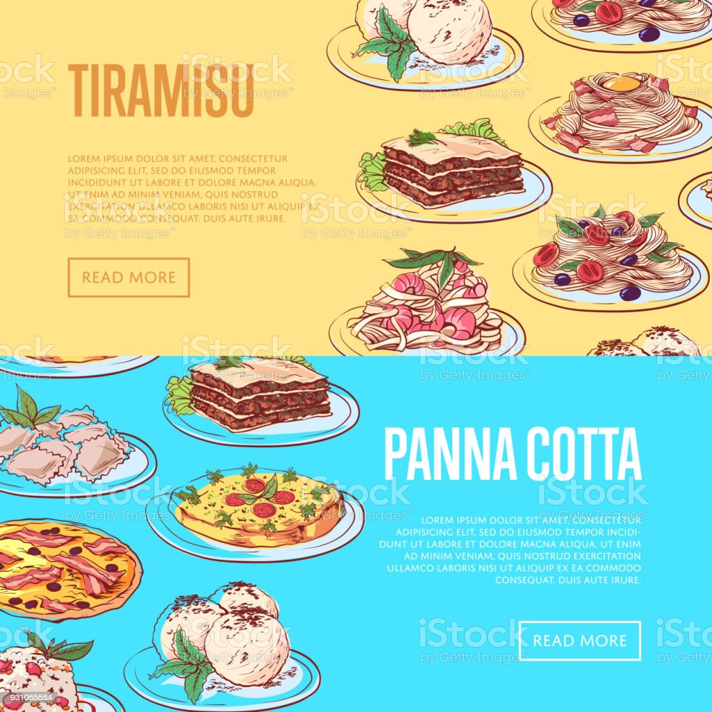 Italian sweet menu flyers with national dishes vector art illustration