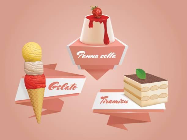italienische süßigkeiten abzeichen. - tiramisu stock-grafiken, -clipart, -cartoons und -symbole