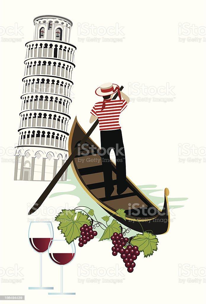 Italian symbols of wine, grapes, gondola and Tower of Pisa vector art illustration