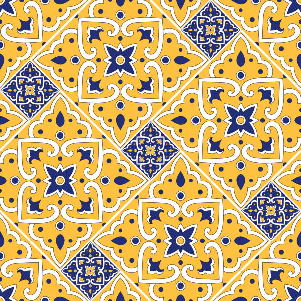 italian tile pattern seamless vector with floral ornaments. portuguese azulejos, mexican talavera, sicily majolica, moroccan, spanish ceramic. mosaic texture for kitchen wall or bathroom flooring. - sicily stock illustrations