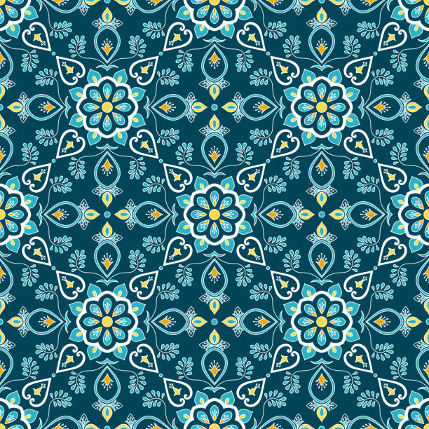 Italian tile pattern vector seamless with flower ornament. Portuguese azulejo, mexican puebla talavera, spanish or italy sicily majolica. Tiled texture for house kitchen or bathroom flooring ceramic. Italian tile pattern vector seamless with flower ornament. Portuguese azulejo, mexican puebla talavera, spanish or italy sicily majolica. Tiled texture for house kitchen or bathroom flooring ceramic. bathroom borders stock illustrations