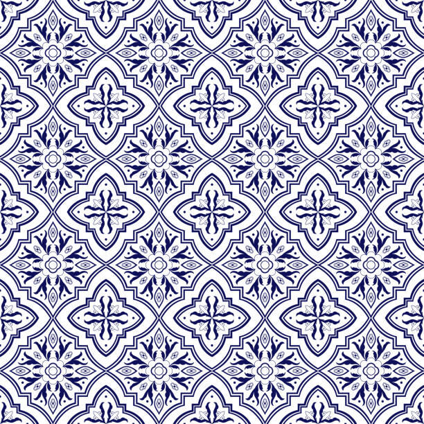 italian tile pattern vector seamless with flower ornaments. portuguese azulejo, mexican talavera, spanish majolica or delft dutch. tiled background for ceramic kitchen wall or bathroom mosaic floor. - sicily stock illustrations