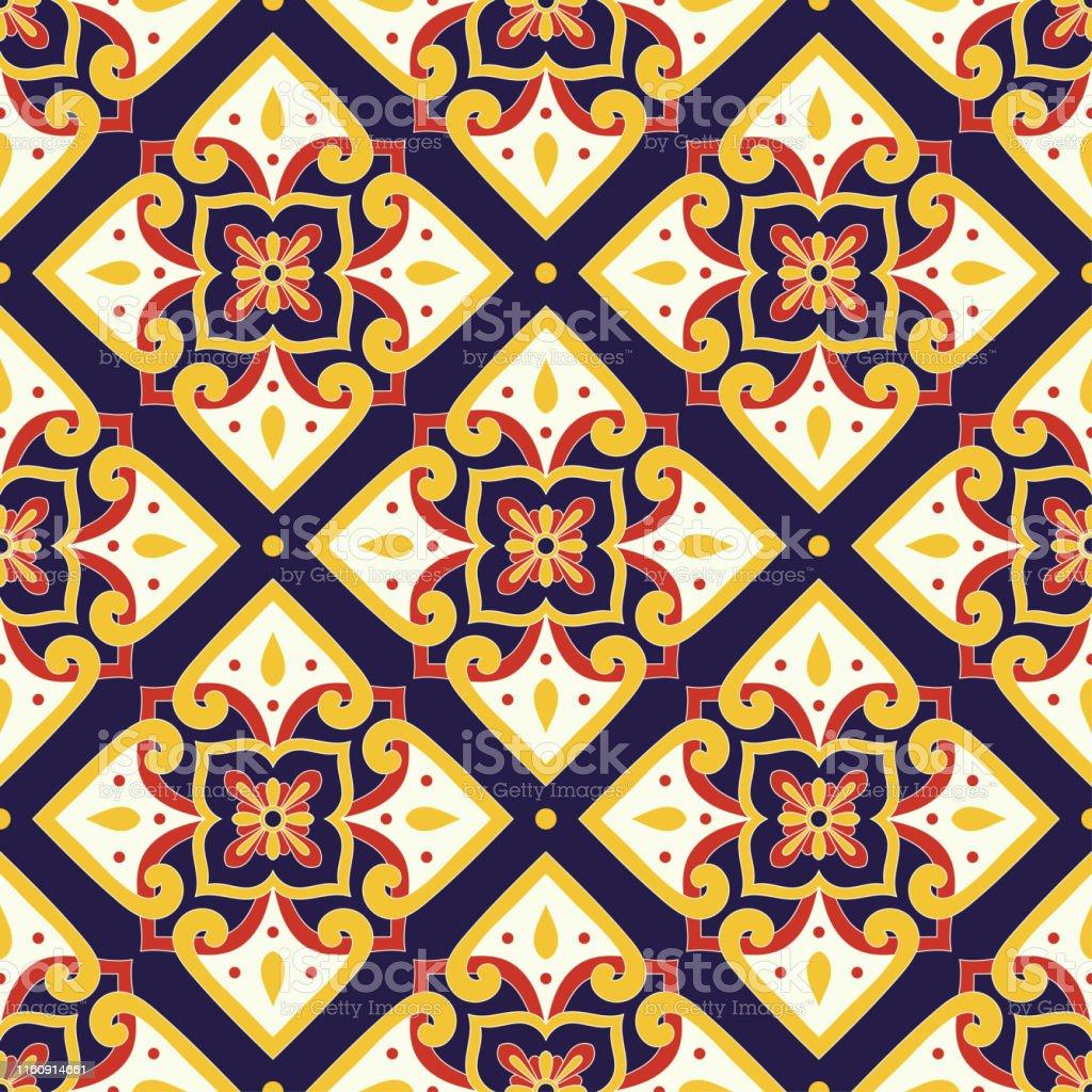 イタリアのタイルパターンベクトルは花の装飾品とシームレスポルトガルのアズレホスメキシコのタラベライタリアシチリアマジョリカスペインのセラミックキッチンの 壁紙や お手洗いのベクターアート素材や画像を多数ご用意 Istock