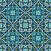 Italian tile pattern vector seamless with vintage ornaments. Portuguese azulejos, mexican talavera, spanish or italy sicily majolica design. Texture for kitchen wall or bathroom flooring ceramic.