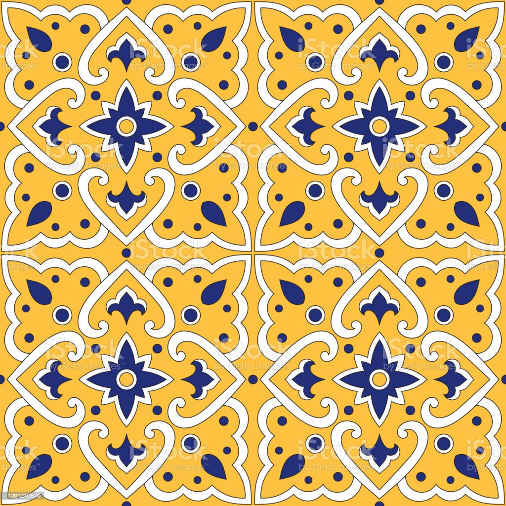 Italienischen Fliesen Muster Vektor Nahtlos Mit Gelben Verzierungen