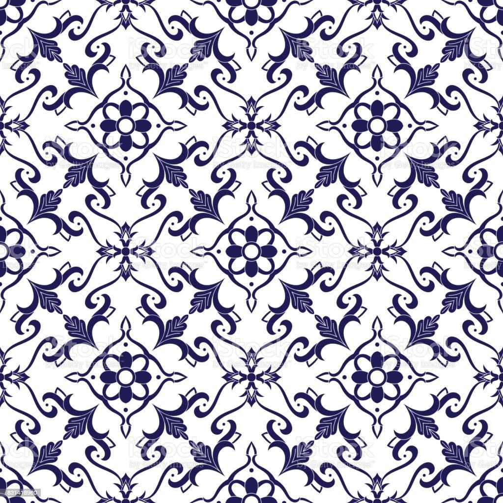 Italian tile pattern vector vector art illustration
