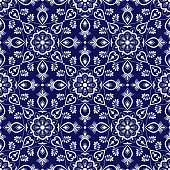 Italian tile pattern vector with blue and white ornaments