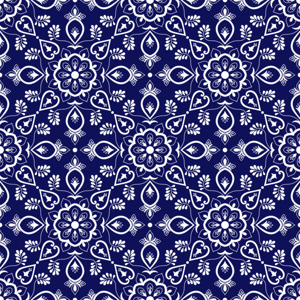 italian tile pattern vector with blue and white ornaments - wyrób ceramiczny stock illustrations