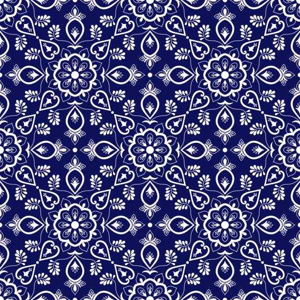ilustrações de stock, clip art, desenhos animados e ícones de italian tile pattern vector with blue and white ornaments - mosaicos flores