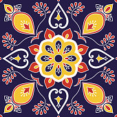 Italian tile pattern vector with royal floral motifs