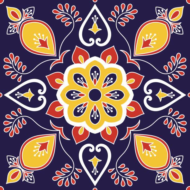 illustrations, cliparts, dessins animés et icônes de carrelage italien vecteur avec des motifs floraux royal - cuisine espagnole