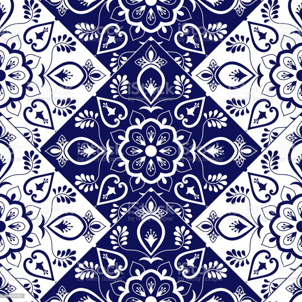 Italienischen Fliesen Muster Vektor Mit Skala Blauweißen Mosaik ...