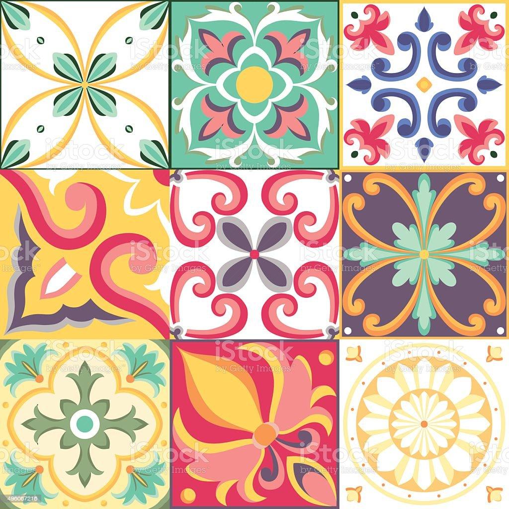 Italian tile vector art illustration