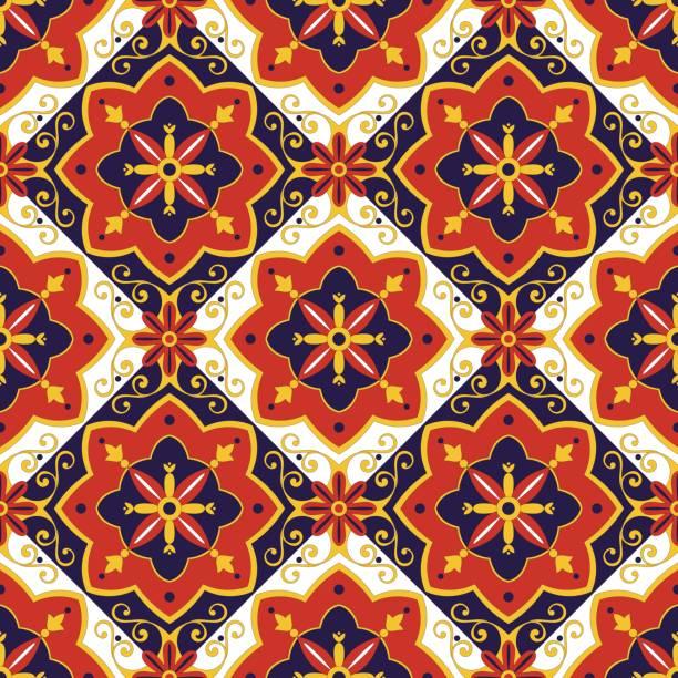 illustrazioni stock, clip art, cartoni animati e icone di tendenza di italian tiles pattern vector - capri