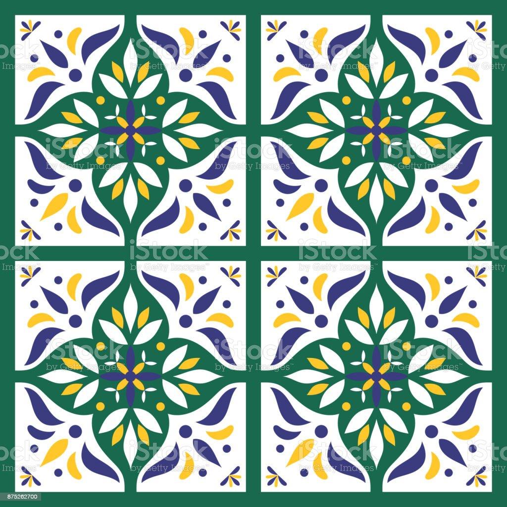 Italienische Fliesen Muster Vektor Mit Blau Grun Gelb Stock Vektor