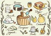 Tasty traditional italian cheese sketched in Illustrator: mozzarella, caciocavallo, ricotta, parmigiano, taleggio, tomino, pecorino, gorgonzola and capers, pears, honey, jam and olives.