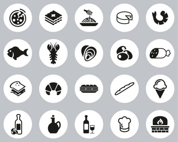 illustrazioni stock, clip art, cartoni animati e icone di tendenza di italian traditional food & culture icons black & white flat design circle set big - mortadella