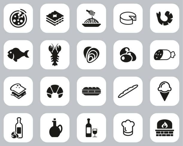 illustrazioni stock, clip art, cartoni animati e icone di tendenza di italian traditional food & culture icons black & white flat design set big - mortadella