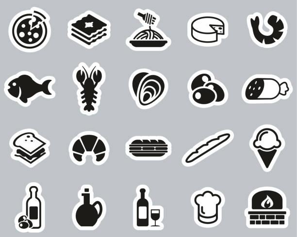 illustrazioni stock, clip art, cartoni animati e icone di tendenza di italian traditional food & culture icons black & white sticker set big - mortadella
