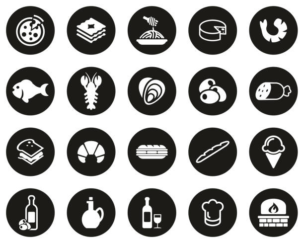 illustrazioni stock, clip art, cartoni animati e icone di tendenza di italian traditional food & culture icons white on black flat design circle set big - mortadella