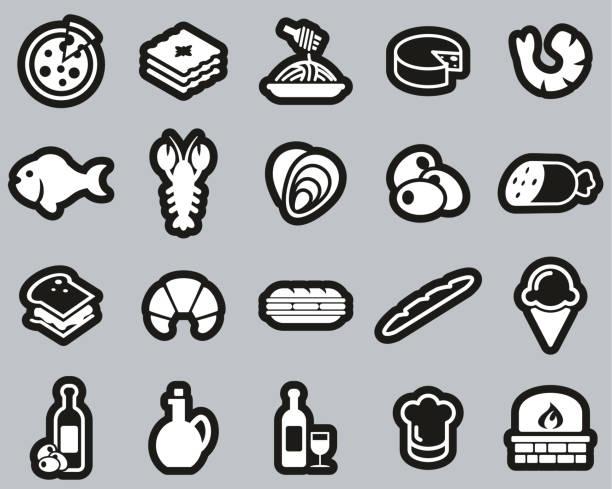 illustrazioni stock, clip art, cartoni animati e icone di tendenza di italian traditional food & culture icons white on black sticker set big - mortadella