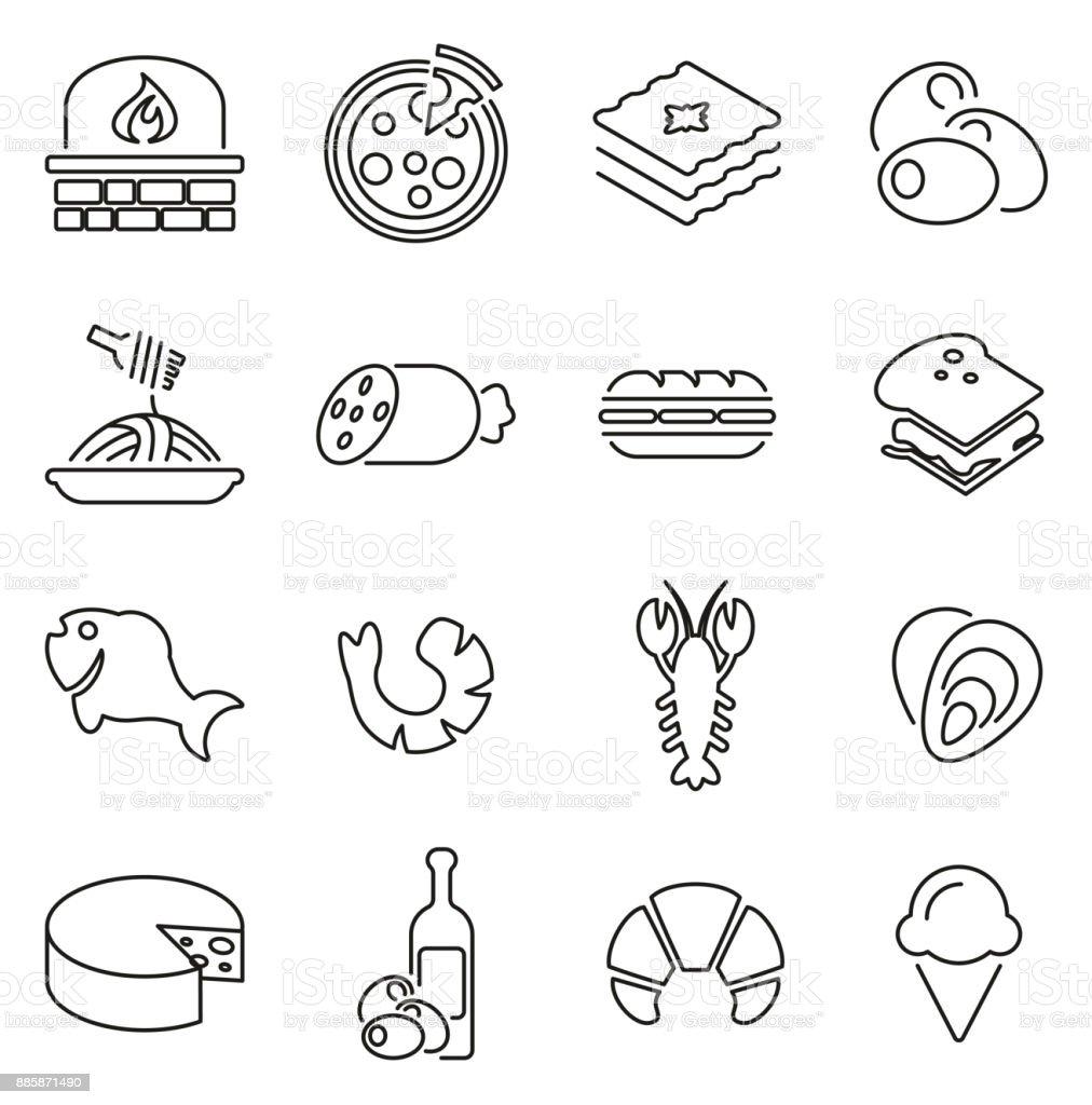 Italian Traditional Food Icons Thin Line Vector Illustration Set - arte vettoriale royalty-free di Bianco e nero