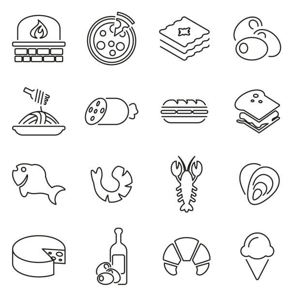 ilustrações de stock, clip art, desenhos animados e ícones de italian traditional food icons thin line vector illustration set - baking bread at home
